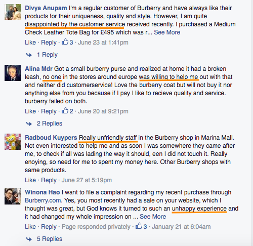 Burberry comments on facebook