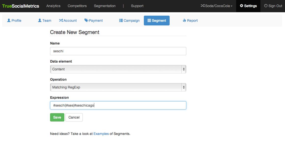 sample applied custom segments to metric