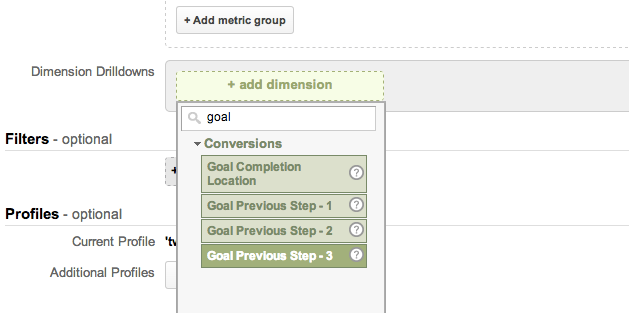 Google Analytics Reverse path to goal report