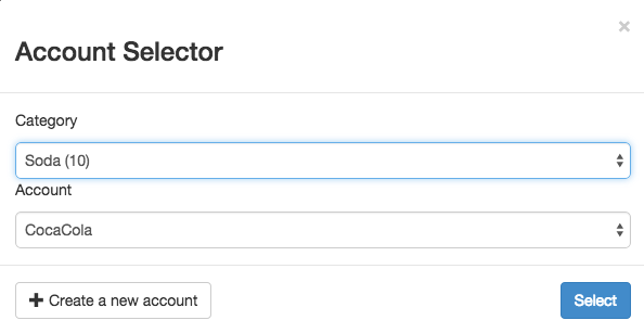 Account selector menu