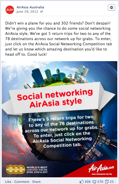AirAsia Facebook campaign posts analytics