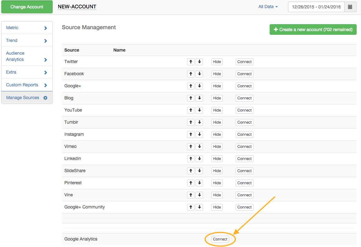 connecting Google analytics to TrueSocialMetrics