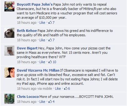 Papa Johns Pizza best post in Facebook
