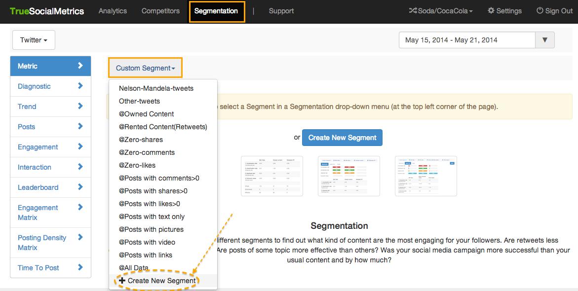 custom segments for metric
