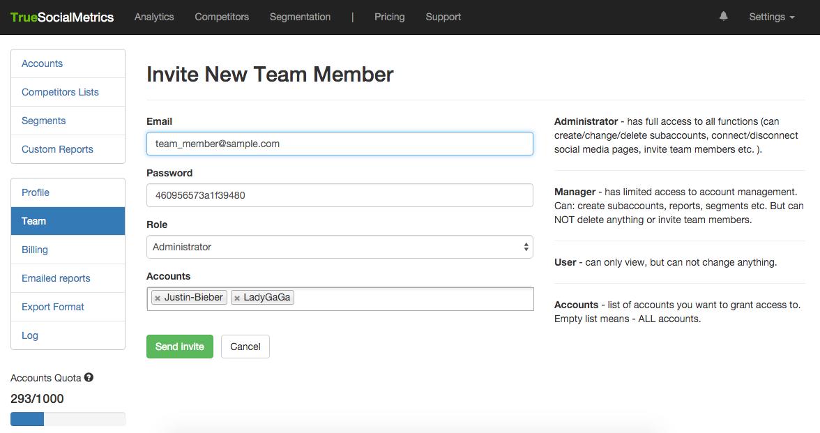 Team management screenshot