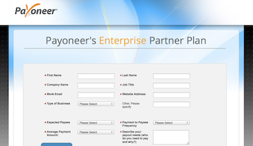 Payoneer signup page