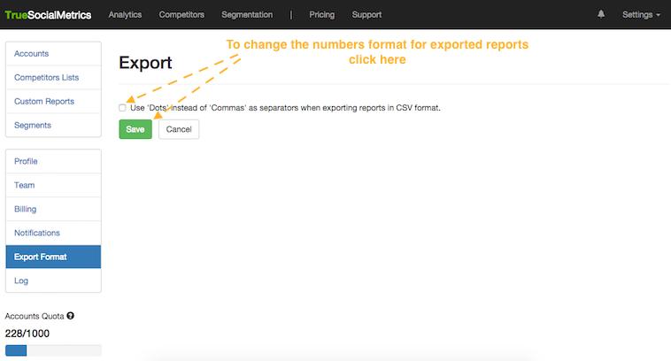 exporting format settings