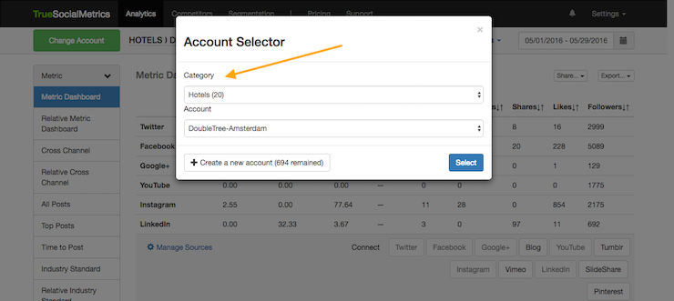 select account category