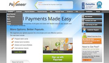 Payoneer landing page